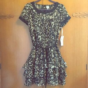 Converse Mini dress leopard Tiered  fit & flare M